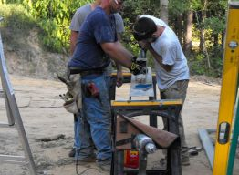 Tools & teamwork - building porch beams